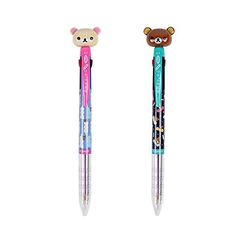San-x Rilakkuma Mascot 3-Color Ballpoint Pen with Pocket Clip : Dango Set of 2