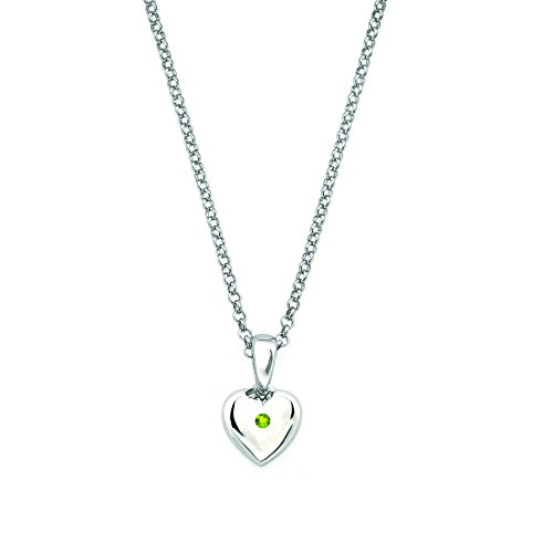Little Diva Diamonds 925 Sterling Silver Simulated Peridot August Birthstone Heart Pendant Necklace with 16