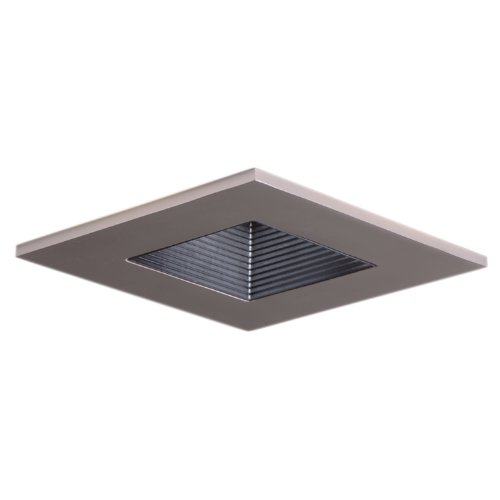 HALO Recessed 3012SNBB 3-Inch 15-Degree Trim Lensed Square Shower Light with Black Baffle, Satin -