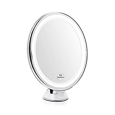 Terresa 7X Magnifying Lighted Makeup Mirror with 360 Swivel Rotation & Suction Mount Bathroom Shower Vanity Mirror Oval Design for Travel