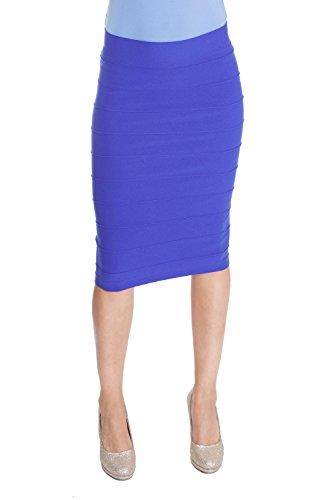 Esteez Stretchy Pencil Skirt for Women Opaque Lightweight Slimfit Blue Berry Small/Medium