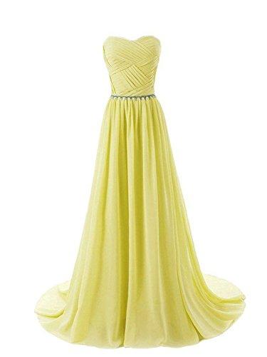 Vestido Largo Line Honor de Noche la A Dama Vestido JAEDEN Gasa Corsé Vestido de Fiesta de de Amarillo Mujer qEwf6t8g