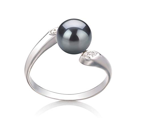 Freshwater Pearl Ring Black Cultured - Dana Black 6-7mm AAA Quality Freshwater 925 Sterling Silver Cultured Pearl Ring For Women - Size-5
