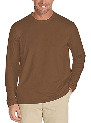 Men's UPF 50+ UV/Sun Protection Casual Long Sleeve T-Shirt (Tan, Large)