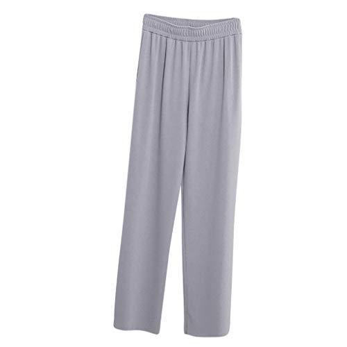 JOFOW Pants Womens Wide Leg Solid Loose Swing High Waist Long Workwear Straight Slim Elegant Casual Comfy Pajamas Trousers (2XL,Light Gray) -