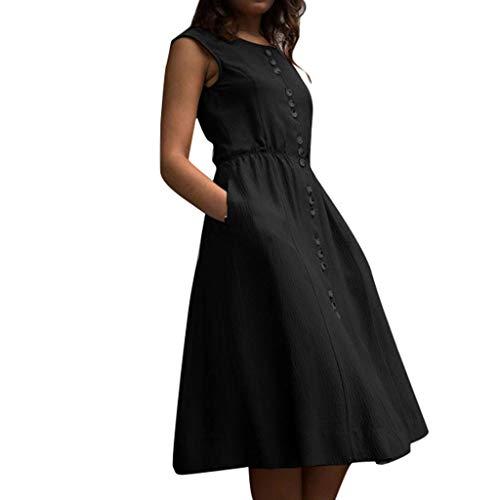 (DondPo Fashion Women Dress Summer High Waist Slim Casual Solid Button Sleeveless Vintage Cocktail A-Line Tea Dresses Black)