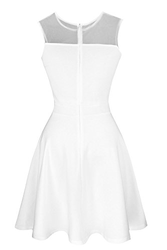 Heloise Women's A-Line Sleeveless Pleated Little White Cocktail Party Dress (S, Off White)