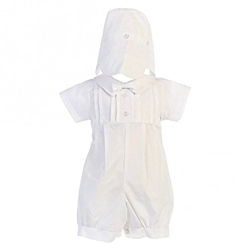 Lito Boy Christening Outfit - Lito Boys Poly Cotton Christening Baptism Romper Outfit, White, 6-12 Months