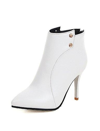 XZZ/ Damen-Stiefel-Kleid-Kunstleder-Stöckelabsatz-Spitzschuh / Modische Stiefel-Schwarz / Rot / Weiß white-us10.5 / eu42 / uk8.5 / cn43