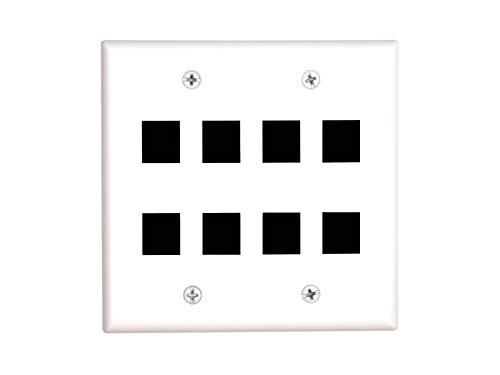 8 Port Keystone Faceplate - Dual Gang - White ()