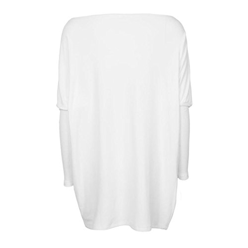 Loose Neck Donna XL Bianco ABCone S Casual Shirt Round Camicette T Lunghe Autunno Tops Maniche Solid Elegante Pullover Felpa Camicie Batwin t0YYqwd
