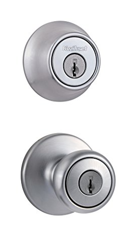 Kwikset 690 Tylo Entry Knob and Single Cylinder Deadbolt Combo 1-Pack, Satin Chrome