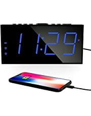 """Digital Alarm Clocks for Bedrooms, Dual Alarms, 7.5""""Large Display, Bedside Loud Clock with USB Charger, 5 Brightness, 4 level Volume for Heavy Sleepers, Smart Clock for Kids and Elders, Easy to Operate, Big Snooze,12/24h, DST, Battery Backup, Home Office Desk Bedside Shelf Travel Clock"""