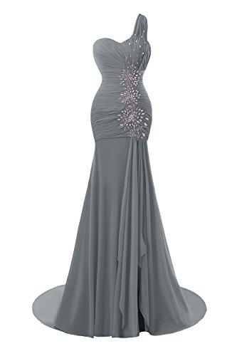 Mermaid Bridal Formal One Evening Split Shoulder Bess Women Grey Steel Dress Prom s tdOxq