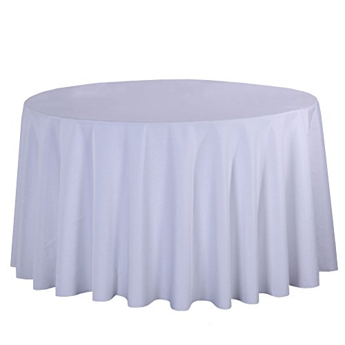 CH&Q Tablecloth - 80 Inch Thicken Solid Color Round Tablecloth Great for Buffet Table/Parties/Wedding/Holiday Dinner/Banquet/Restaurant & More - Polyester Fabric Table Cloth - White ()
