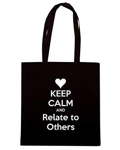 Speed Shirt Borsa Shopper Nera TKC3412 KEEP CALM AND RELATE TO OTHERS
