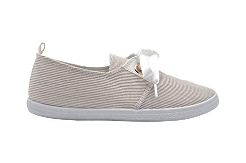Satin Slip Ons - dELiAs Ladies Sneakers 9 M US Stripe Fabric Slip On Sneaker with Satin Bow Beige