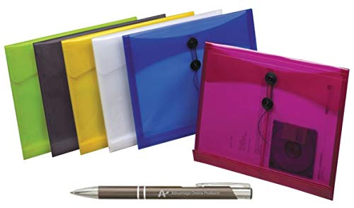 6 Pack Assorted Colors Poly String Envelopes, Tear and Moisture Resistant, Letter Size, (52442) Plus Bonus AdvantageOP Gunmetal Retractable Pen