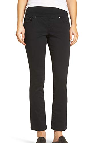 Jag Jeans Women's Petite Peri Straight Pull on Jean, Black Twill, 10P