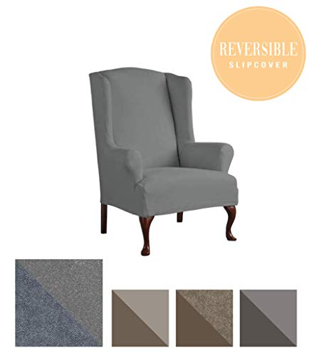 - Perfect Fit Serta | Slip-Resistant Form Fitting Furniture Slipcover for T-Wingback Chair, Reversible Stretch Suede (Steel Gray Herringbone/Gray Solid)