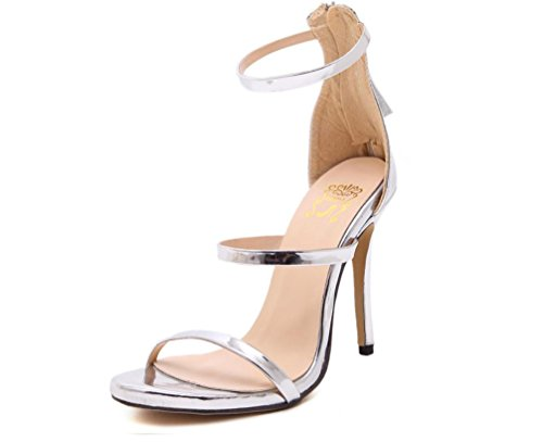 Scarpe YCMDM donne romane dei sandali tacco alto Oro Argento nero nudo 39 36 35 38 40 37 , silver , 39