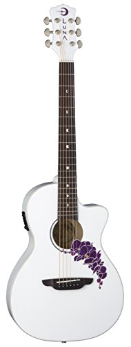 Luna FLO OR CWH Flora Orchid Acoustic/Electric Guitar, Classic White