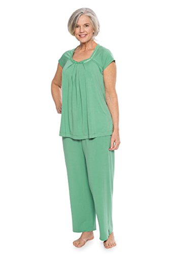 TexereSilk Women's Pajamas in Bamboo Viscose (Bamboo Bliss, Malachite, Large) Unique Gifts for Girlfriend Daughter Niece (Unique Pajamas For Women)