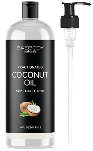 Fractionated Coconut Oil from Baebody Naturals- Moisturizing and Softening Carrier Oil for Face, Skin, Hair, Nails. Premium Carrier Oil for Daily Hydration and Shine. Value Size - Large 16 -