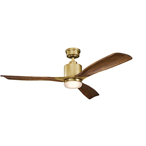 Kichler Lighting 300027NBR Ridley Ii-52 Ceiling Fan with Light Kit, Cherry Blade Finish, Natural Brass