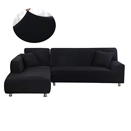 (Mingfuxin Sectional Couch Covers L Shape Sofa Slipcover 2 pcs Furniture Protector Sofa Stretch Cover for 2- Pieces 3 Cushion Sectional Sofa Couch (L-Shape 3+3 Seater, Black))
