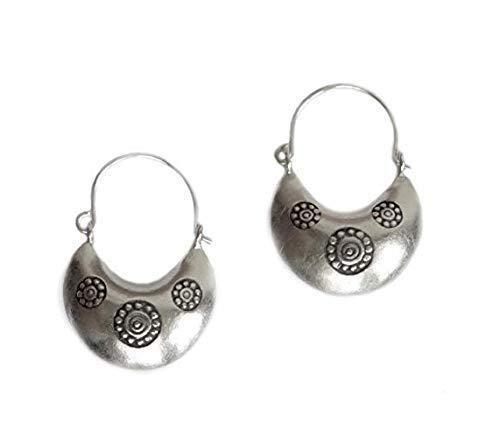 Earrings Dangle Basket (Sterling Silver Boho Moon Hoop Earrings, Handmade 3d Crescent shape Hippie Gypsy Ethnic Bohemian, everyday Basket Earrings)
