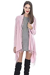 State Cashmere Women S 100 Cashmere Fringed Open Front Cardigan Poncho Pink