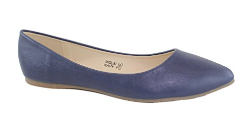 Bella Marie Angie-52 Women's Classic Pointy Toe Ballet PU Slip On Flats Navy 9