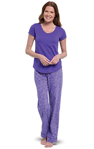 PajamaGram Woman Pajamas Very Soft - Purple Pajamas for Women, Purple, L, 12-14