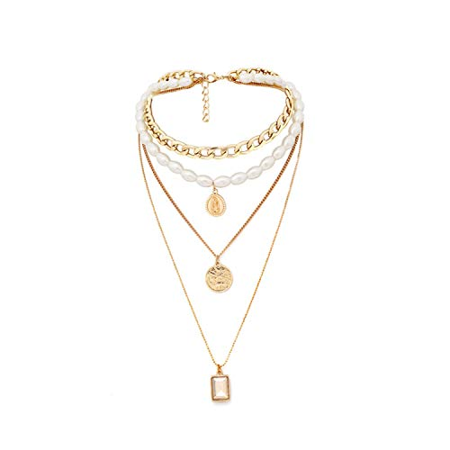 Punk Multi Layered Pearl Choker Necklace Collar Statement Virgin Mary Coin Crystal Pendant Necklace Women Jewelry Wholesale