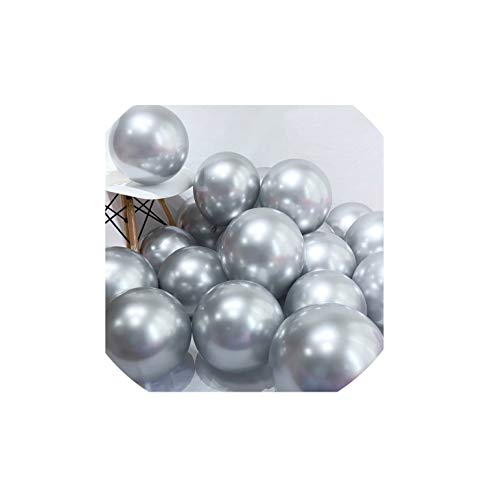 Balloons Latex Balloons Wedding Decorations Birthday Party Decorations Adult kid's Toy,metal sliver,20pcs ()