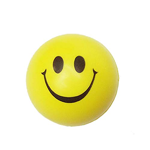 OrchidAmor New Happy Smile Face Anti Stress Relief Sponge Foam Ball Hand Wrist Squeeze Yellow ()