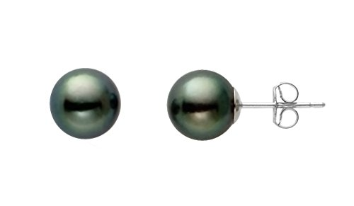 Sterling Silver AA+ Quality Japanese Black Akoya Cultured Pearl Stud Earrings (6-6.5mm)
