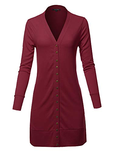- Causal Snap Button Long Sleeves Everyday Long Cardigan Burgundy XL