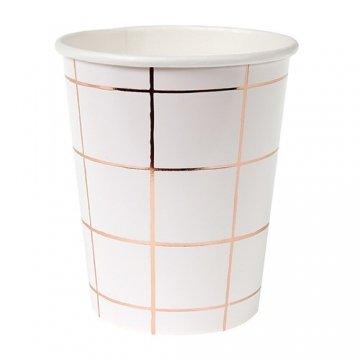 Meri Meri 45-2802 Rose Gold Grid Party Cup, Set of 8
