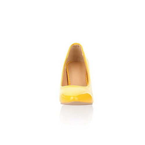 38 Leather Women's Kitten Closed Pumps Shoes WeiPoot Toe Patent Pointed Heels Yellow REqWPg