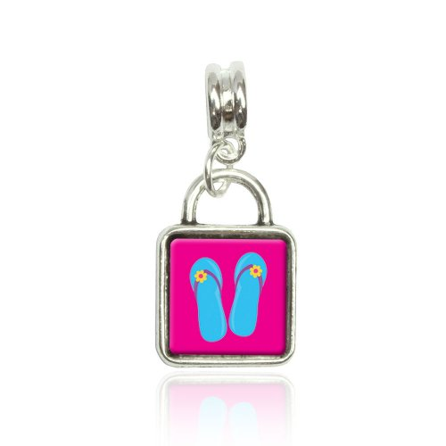 Tropical Sandals Flip Flops Blue Euro European Italian Style Bracelet Bead Sqr Charm