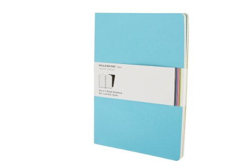 """Moleskine Volant Journal, Soft Cover, XL (7.5"""" x 9.5"""") Ruled/Lined, Manganese Blue, 56 Pages (Set of 2)"""
