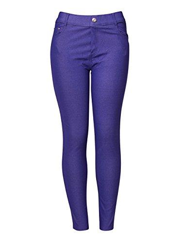Yelete Womens Basic Five Pocket Stretch Jegging Tights Pants, Royal Purple, Large