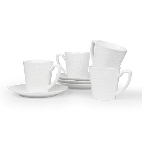 (T4U 5.5 Ounce Sunflower(M) Espresso Cups and Saucers with Handle for Coffee Latt Mocha Cappuccino Tea Cup and Saucer Fine Durable Porlecain White sets of 4)