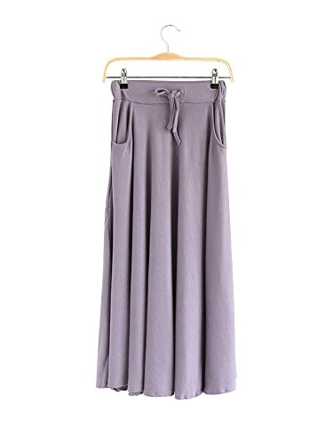 Skirt Coton Long Casual Jupe Poches Tour De Ochenta Kaki Taille En Elastique Femme pqPzB