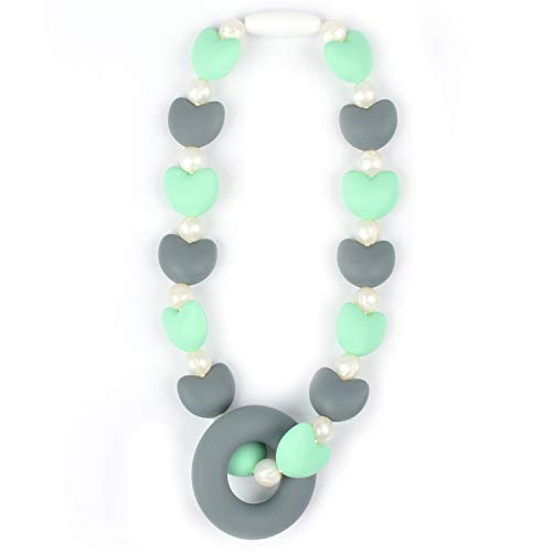 (Nummy Beads Mint Hearts Teether Toy Attaches to Baby Carrier, Car Seat, High Chair, Stroller or Diaper Bag)
