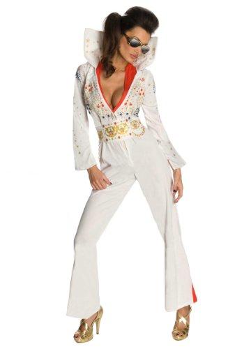 Rubie's Costume Co Womens Secret Wishes Elvis Jumpsuit Costume, White, -