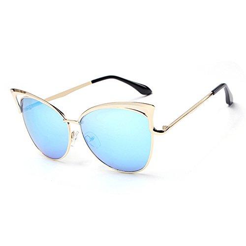 hielo de marco las de gafas la al libre la de del de Lente sol personalidad gafas la Gafas de manera de señora de RFVBNM anti aire de sol dorado sol personalidad marco azul ULTRAVIOLETA XqzAOnx