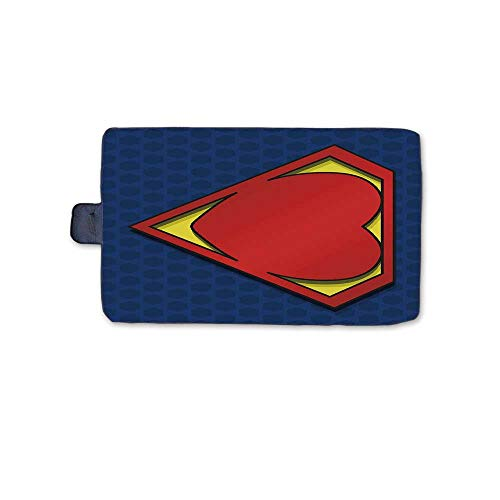 TecBillion Superhero Stylish Picnic Blanket,My Super Man Shield Logo with Heart Figure Valantines Romance Print Mat for Picnics Beaches Camping,58
